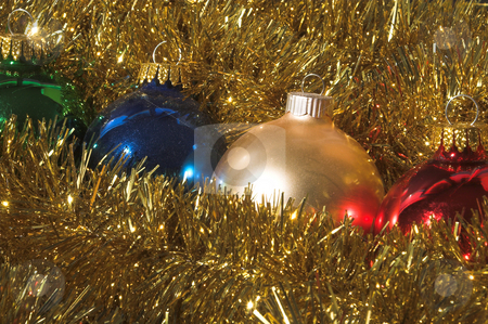 Christmas Ornaments stock photo, A row of Christmas ornaments in holiday garland. by Robert Byron