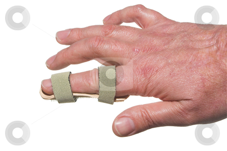 Broken Finger stock photo, A broken finger in a temporary splint. by Robert Byron