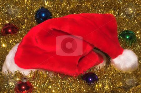 Santa Hat stock photo, Decorative Santa Claus hat and Christmas ornaments by Robert Byron