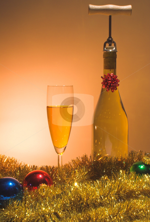 Christmas Spirits stock photo, A glass of Christmas wine beside a wine bottle. by Robert Byron