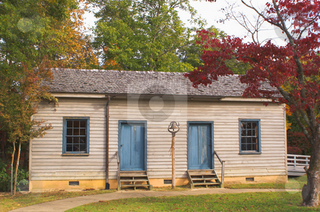 One Room Schoolhouse stock photo, A historic American one room schoolhouse built in the early 1800's. by Robert Byron