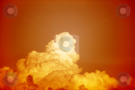 Orange sky stock photo, Orange red sky with orange yellow clouds by Claudia Veja