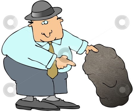 Looking Under A Rock stock photo, This illustration depicts a man looking under a large rock. by Dennis Cox