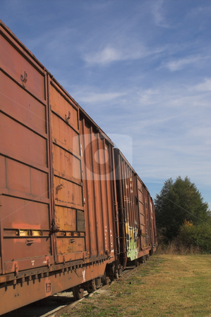 Railroad Boxcars stock photo, Railroad boxcars waiting in a railway yard. by Robert Byron