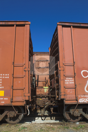 Railroad Boxcars stock photo, Railway box cars in a railroad yard. by Robert Byron