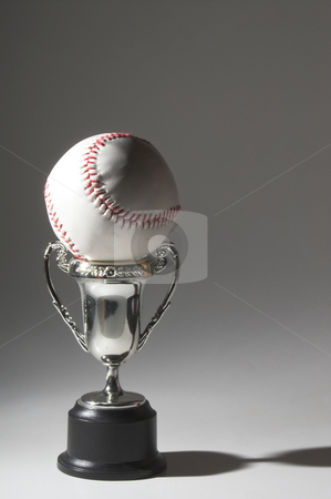 Baseball Trophy stock photo, A baseball trophy cup in the shadows. by Robert Byron