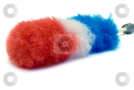 Feather Duster stock photo, A red white and blue feather duster, isolated on a white background by Richard Nelson