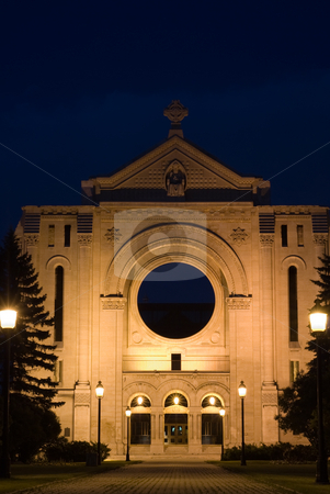 Monastery stock photo, An old monastery lit by street lights at night by Richard Nelson