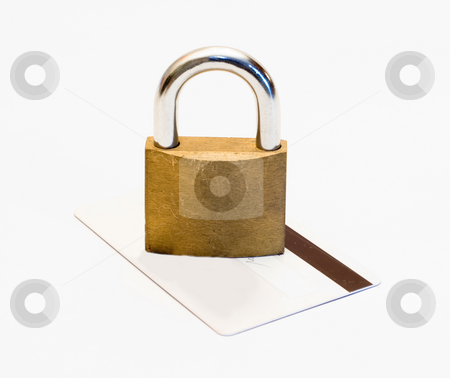 Padlock and Credit card stock photo, A locked padlock on a bank card, isolated on a white background by Richard Nelson