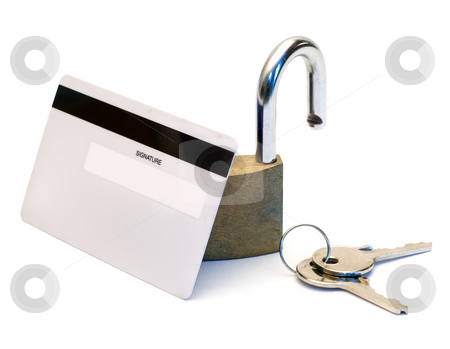 Bank Security stock photo, Back of a bank card with an open padlock isolated on a white background by Richard Nelson