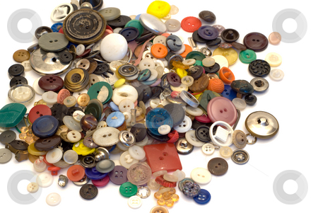 Sewing Buttons stock photo, A large pile of sewing buttons, isolated on a white background by Richard Nelson