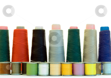 Isolated Sewing Thread stock photo, Colored sewing thread isolated on a white background by Richard Nelson