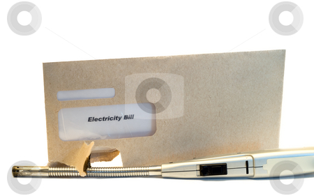 Electric Bill stock photo, An electric bill in an envelope with a light beside it by Richard Nelson