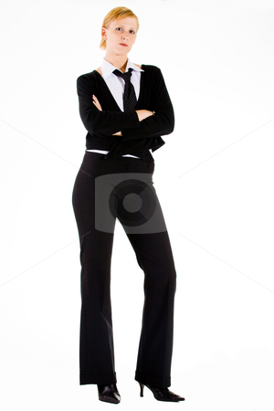 Business woman is waiting stock photo, Young business woman is waiting on a big assigment by Frenk and Danielle Kaufmann
