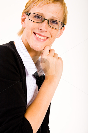 Smiling business woman with glasses stock photo, Business woman with a pair of glasses by Frenk and Danielle Kaufmann
