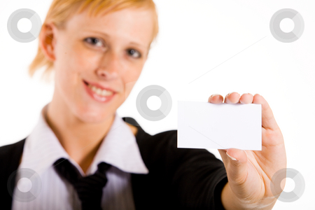 Business woman with her card stock photo, Business woman presenting her white card. Focus in on the hand with the empty white card. by Frenk and Danielle Kaufmann