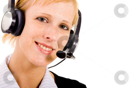 Helpdesk woman with a headset stock photo, Helpdesk employee is waiting for your issue by Frenk and Danielle Kaufmann