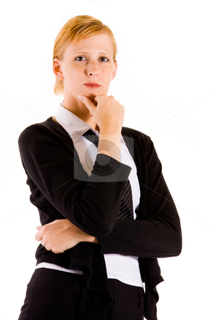 Business woman thinking stock photo, Business woman is thinking about her big assigment. by Frenk and Danielle Kaufmann