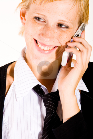 Business womans face and the celluar stock photo, Business woman is calling with her cell phone by Frenk and Danielle Kaufmann