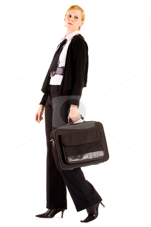 Business woman with her laptop bag stock photo, Busy business woman with her laptop bag by Frenk and Danielle Kaufmann