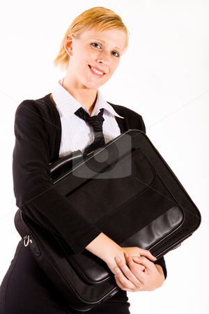 Business woman posing with her laptop bag stock photo, Busy business woman with her laptop bag by Frenk and Danielle Kaufmann