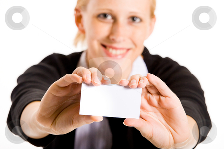 Smiling business woman with her card stock photo, Business woman presenting her white card. Focus in on the hand with the empty white card. by Frenk and Danielle Kaufmann