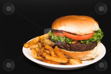 Cheeseburger and Fries stock photo, A delicious cheeseburger and an order of French fries. by Robert Byron