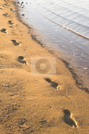 Footprints in the Sand stock photo, The traditional and timeless footprints in the sand. by Robert Byron