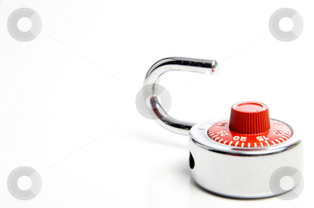 Combination Lock stock photo, A combination lock ready for a back to school locker. by Robert Byron