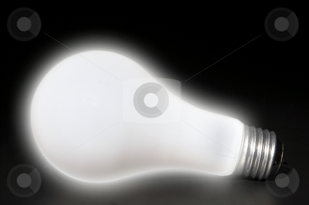 Light Bulb stock photo, A brightly lighted incandescent tungsten light bulb. by Robert Byron