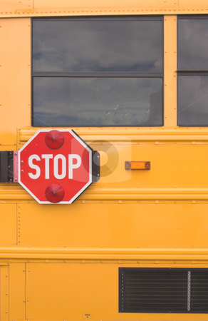 School Bus Stop Sign stock photo, The stop sign on the outside of a school bus. by Robert Byron