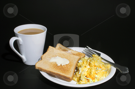 Eggs, Toast and Coffee stock photo, A delicious and nutritious hot breakfast of eggs, toast and coffee. by Robert Byron