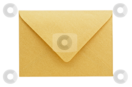 Golden envelope on white background stock photo, Golden envelope on white background, close up, studio shot. by Pablo Caridad