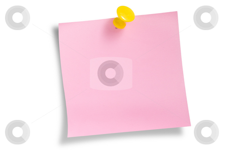Pink remainder note  stock photo, Pink remainder note on white background, with tack. by Pablo Caridad