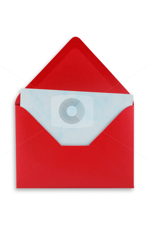 Opened Envelope stock photo, Open red envelope with a blue sheet of paper inside. Isolated, white background. by Pablo Caridad
