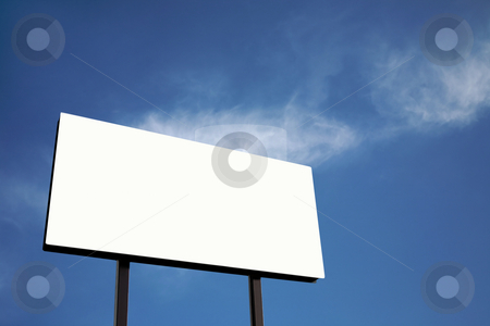 White Billboard against blue sky (XL) stock photo, Brand new billboard in blue sky with clouds by Mitch Aunger