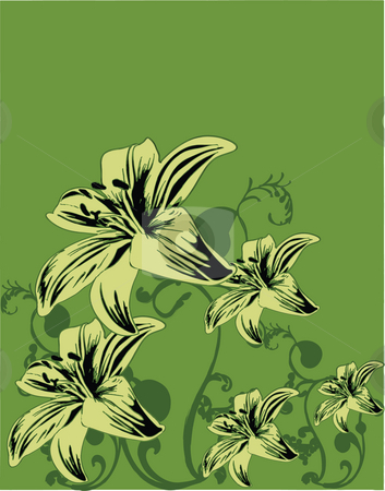 Yellow flowers on green background illustration stock photo, Digital background art with yellow flowers on green by Michelle Bergkamp