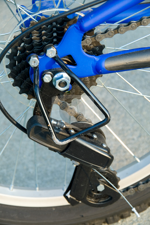 Bicycle Derailleur stock photo, A derailleur with sprockets on a mountain bike. by Robert Byron