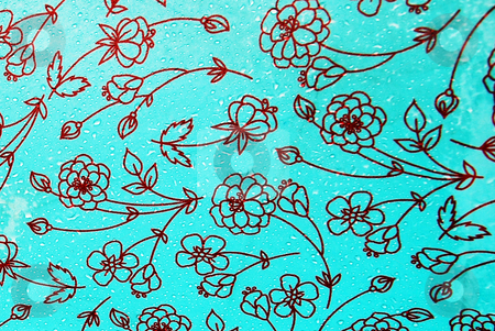 Floral Fabric stock photo, Japanese style flowers in red on a turquoise acrylic fabric by Philippa Willitts