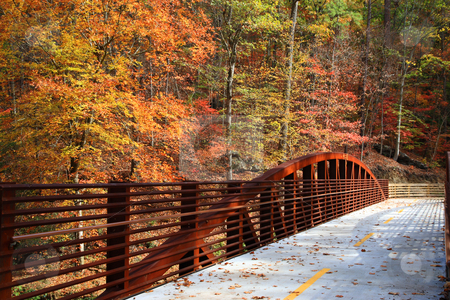 Fall  stock photo, Beautifull colors of fall and rusting bridge by Jack Schiffer
