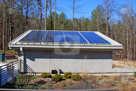 Solar Power stock photo, Solar panels generating power for state park visitors building by Jack Schiffer