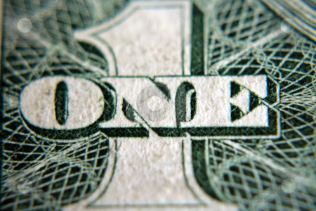 Number One stock photo, A close shot of the number five on an American one dollar bill by Kevin Tietz