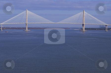 Suspension Bridge stock photo, A large suspension bridge in Charleston, South Carolina. by Robert Byron