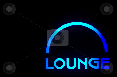 Lounge stock photo, A neon lounge sign outside of a bar. by Robert Byron