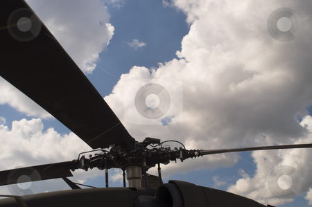Helicopter Rotor stock photo, A close up of the main rotor of a helicopter. by Robert Byron