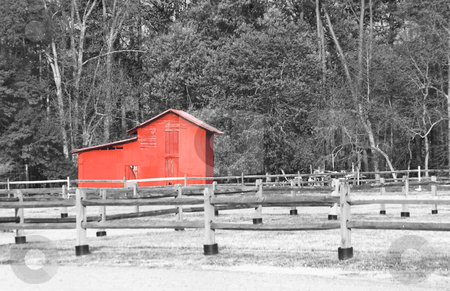 Old Red Barn stock photo, An old red barn on an abandoned farm. by Robert Byron