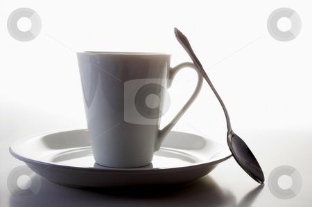 Coffee Cup stock photo, A coffee cup in the shadows of morning. by Robert Byron