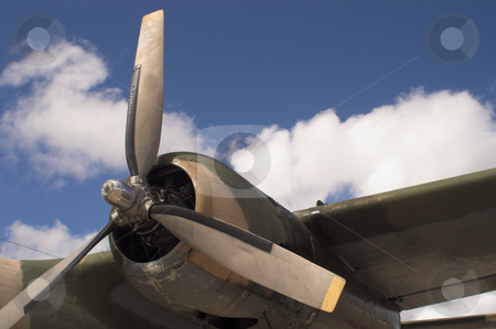 Propeller stock photo, The propellor of a vintage WW II bomber. by Robert Byron