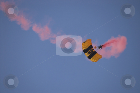 Paratrooper stock photo, A US Army ranger parachuting from the sky. by Robert Byron