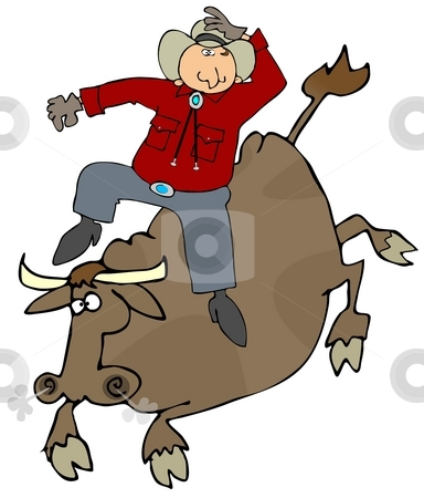 Bull Rider stock photo, This illustration depicts a cowboy riding a bull. by Dennis Cox